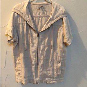 Caslon short sleeved hooded linen zip up jacket